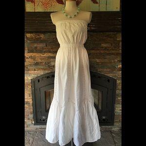 GAP White Strapless Boho Midi Sundress Dress 8/M